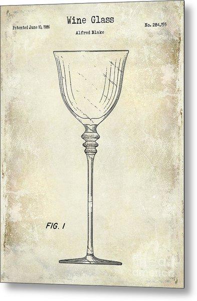 Wine Glass Patent Drawing Metal Print