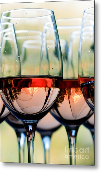 Wine Glasses Filled With Mount Hood Metal Print by Cari Gesch