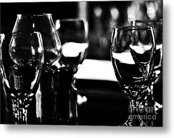 Wine Glasses On Table Metal Print
