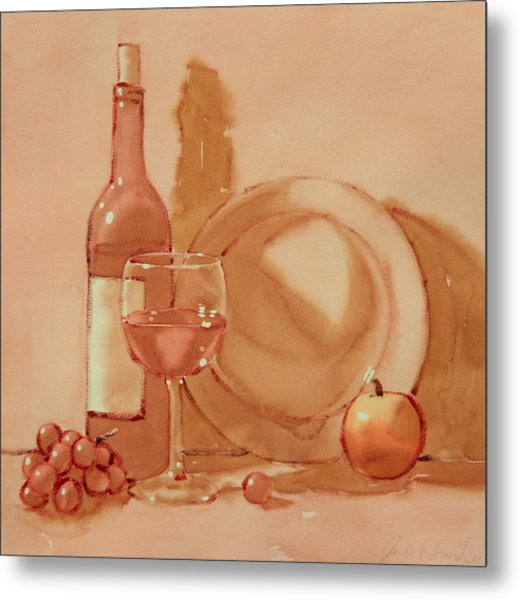 Wine Still Life Metal Print by Joe Schneider