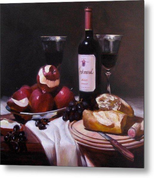 Wine With Peeled Apples Metal Print by Takayuki Harada