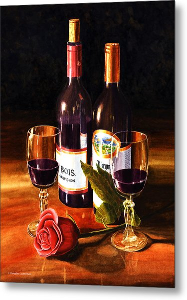 Wine With Rose Metal Print