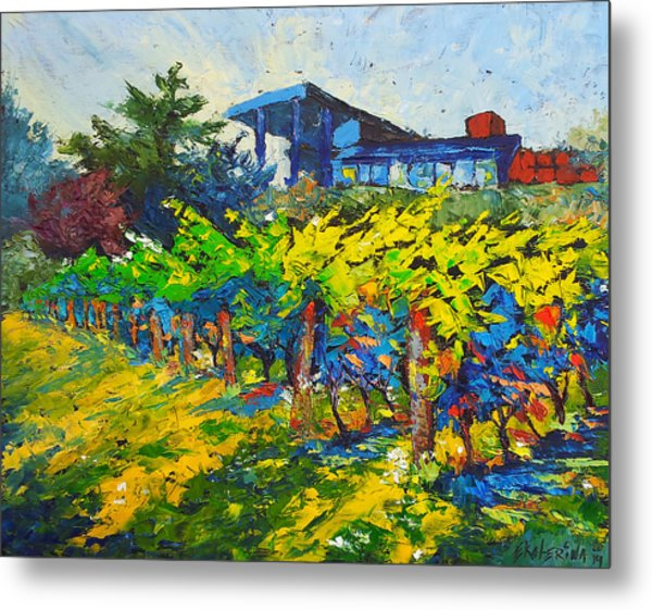 Winery Painting With Oils On Black Canvas Metal Print