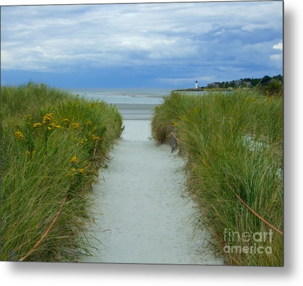Wingaersheek Beach Path And Annisquam Lighthouse Metal Print