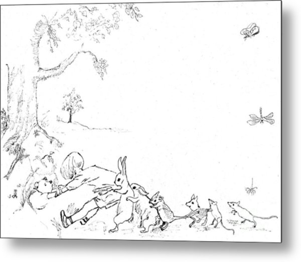 Winnie The Pooh And Crew In Pen  And Ink After E H Shepard Metal Print