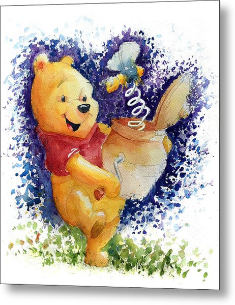 Winnie The Pooh And Honey Pot Metal Print