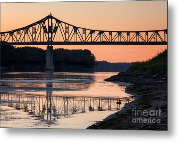 Metal Print featuring the photograph Winona Bridge Photo Early Morning Bridge by Kari Yearous
