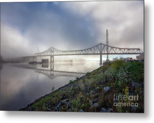 Winona Bridge With Fog Metal Print