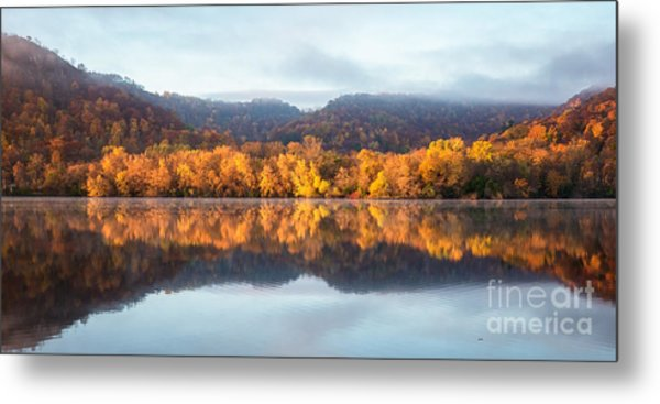 Metal Print featuring the photograph Winona Mn Fall Colors Panorama No Towers by Kari Yearous