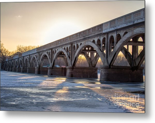 Metal Print featuring the photograph Winona Wagon Bridge At Sunset by Kari Yearous