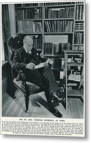Winston Churchill  At Home, Reading Metal Print by  Illustrated London News Ltd/Mar