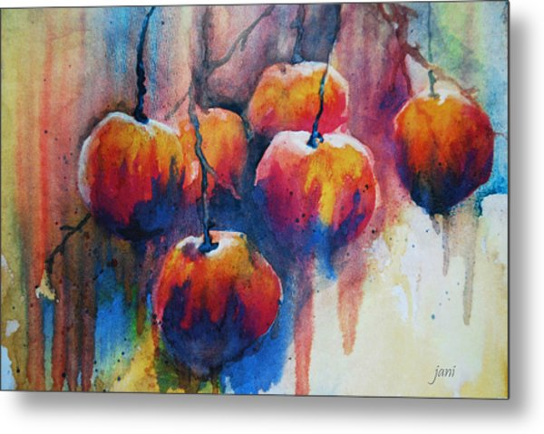 Metal Print featuring the painting Winter Apples by Jani Freimann