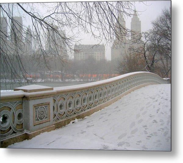 Winter At Bow Bridge Metal Print