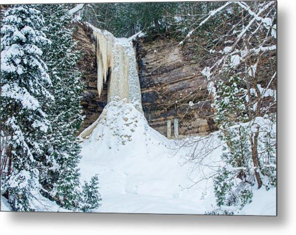 Winter At Munising Falls Metal Print
