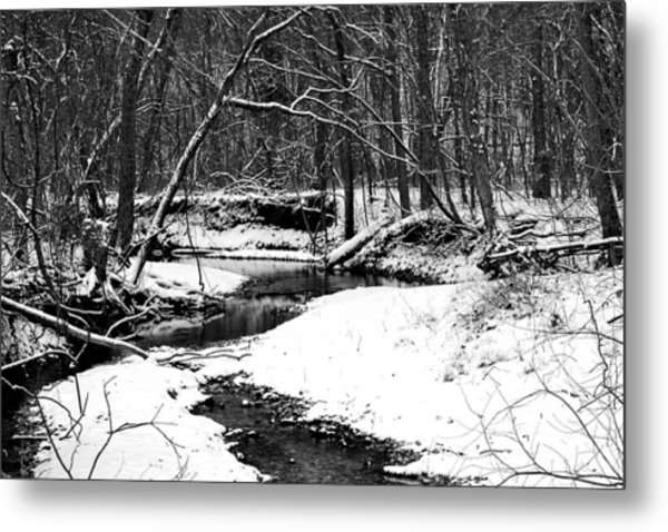 Winter At Pedelo Black And White Metal Print