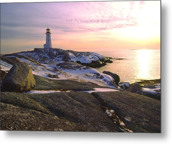 Winter At Peggy's Cove Metal Print