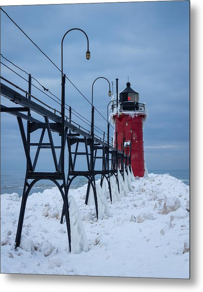 Winter At South Haven Lighthouse Metal Print