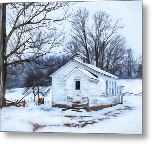 Winter At The Amish Schoolhouse Metal Print