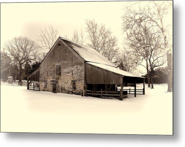 Winter At The Horse Barn Metal Print