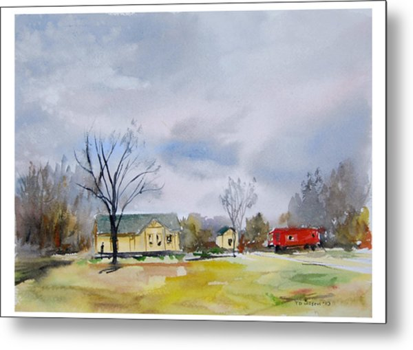 Origional  Sold - Winter At The Train Museum Tomball Tx Metal Print