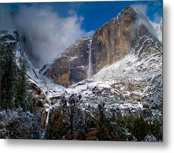 Winter At Yosemite Falls Metal Print