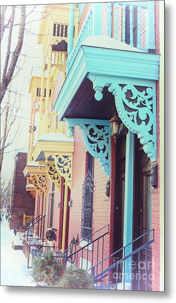 Winter Balconies In Montreal Metal Print