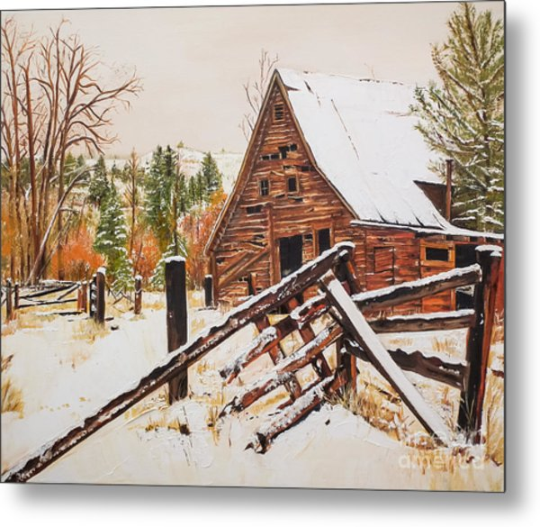 Winter - Barn - Snow In Nevada Metal Print