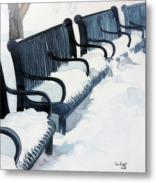 Winter Benches Metal Print