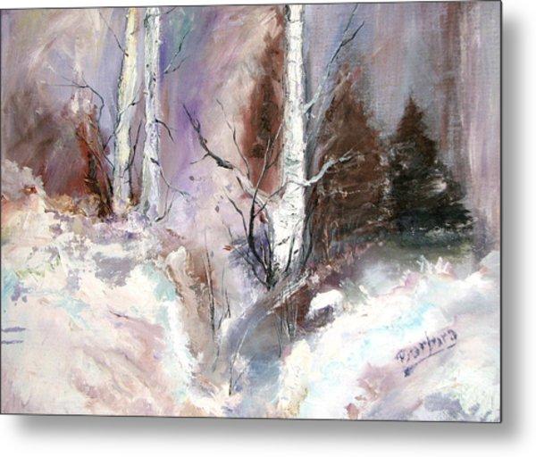 Winter Birches Metal Print by Barbara Cole