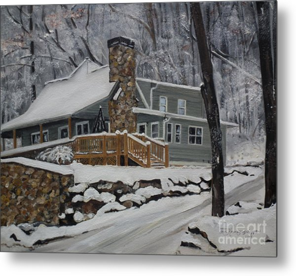 Winter - Cabin - In The Woods Metal Print