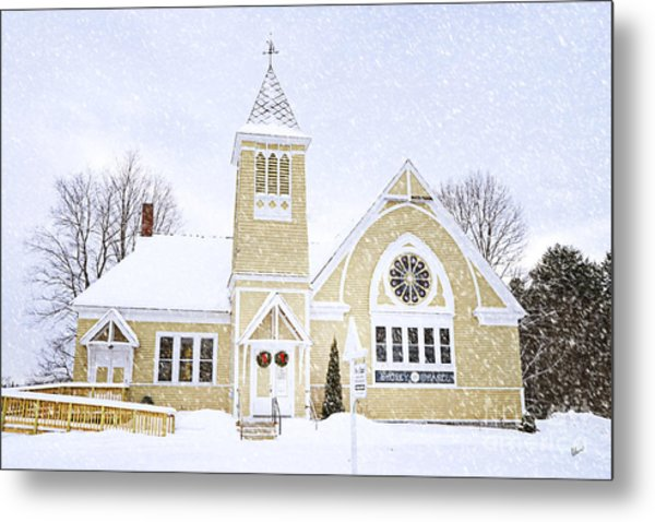 Winter Chapel Metal Print