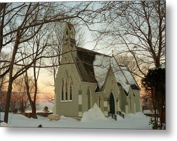 Winter Chapel Metal Print