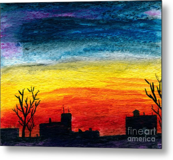 Winter City Twilight Metal Print by R Kyllo