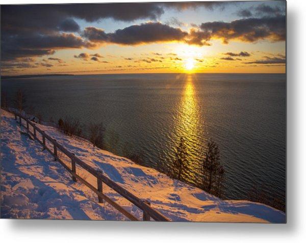 Winter Cliffs On Lake Michigan Metal Print