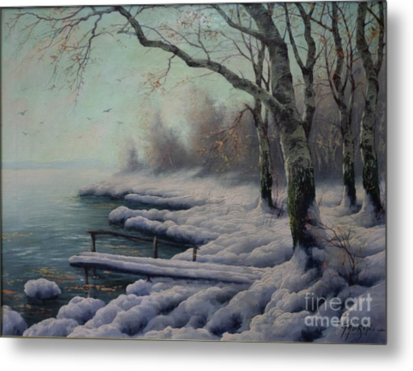 Winter Coming On The Riverside Metal Print