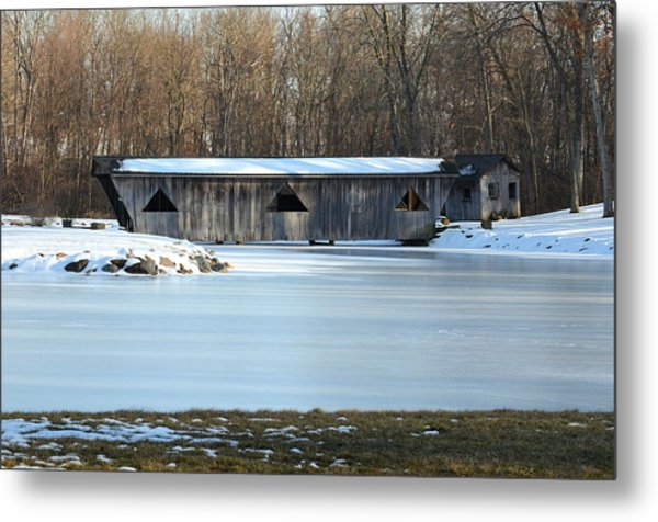 Winter Covered Bridge Metal Print by Jennifer  King