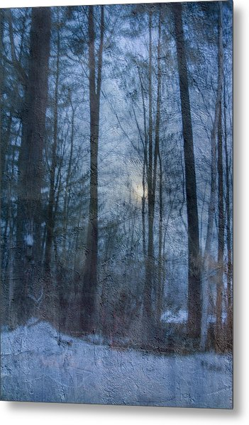 Winter Early Morning Setting Moon Metal Print