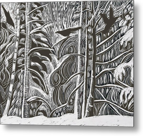 Winter Etching Metal Print