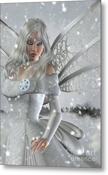 Winter Fairy In The Snow Metal Print