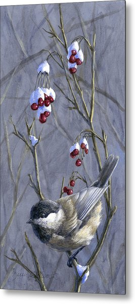 Winter Harvest 2 Chickadee Painting Metal Print