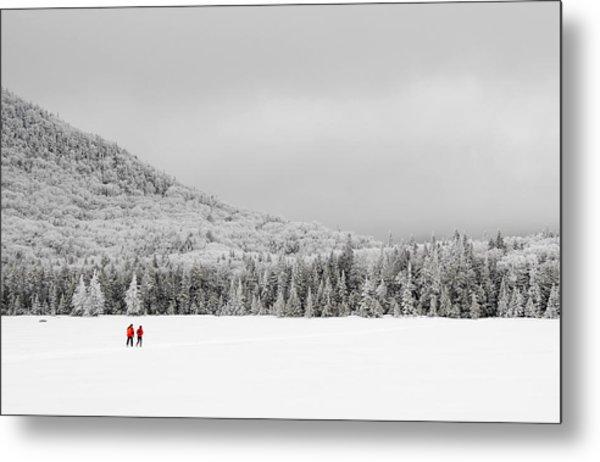 Winter Hikers On Lonesome Lake Metal Print by Ken Stampfer