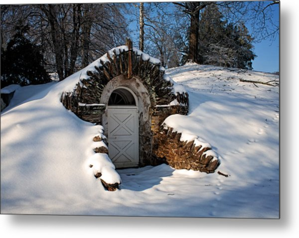 Winter Hobbit Hole Metal Print