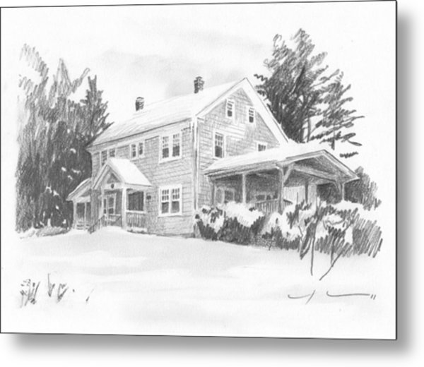 Winter House Pencil Portrait Metal Print by Mike Theuer