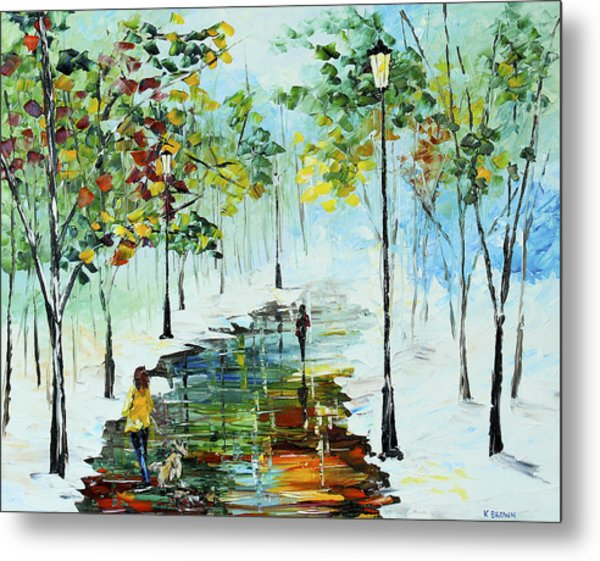 Metal Print featuring the painting Winter In The Park by Kevin  Brown