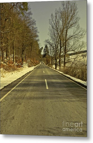 Winter-landscape With Country Road Metal Print