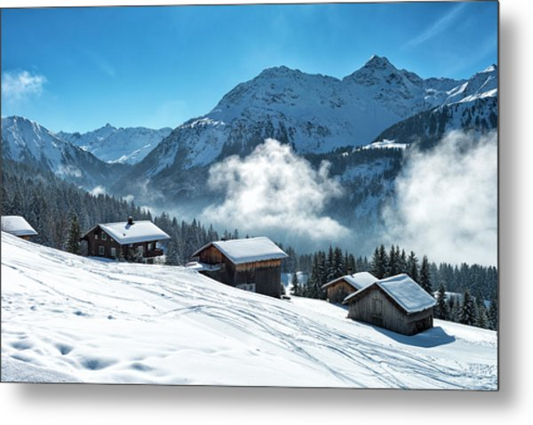 Winter Landscape With Ski Lodge In Metal Print by Kemter