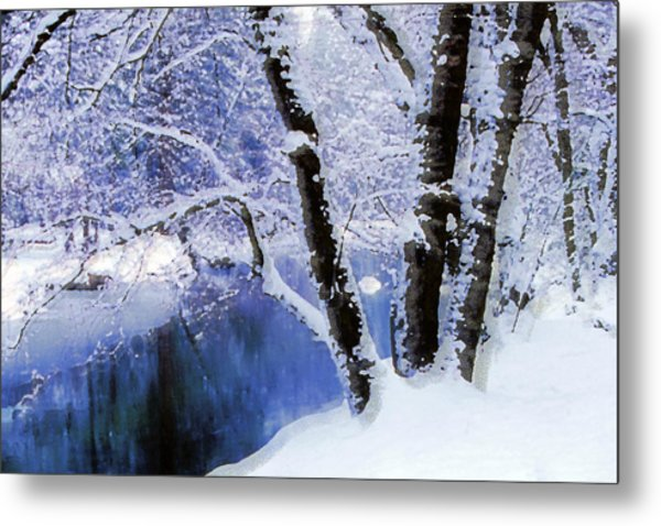 Winter Landscape Yosemite Valley Metal Print