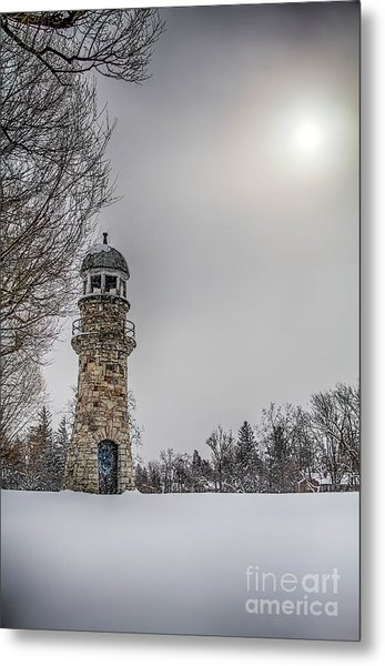 Winter Lighthouse Metal Print