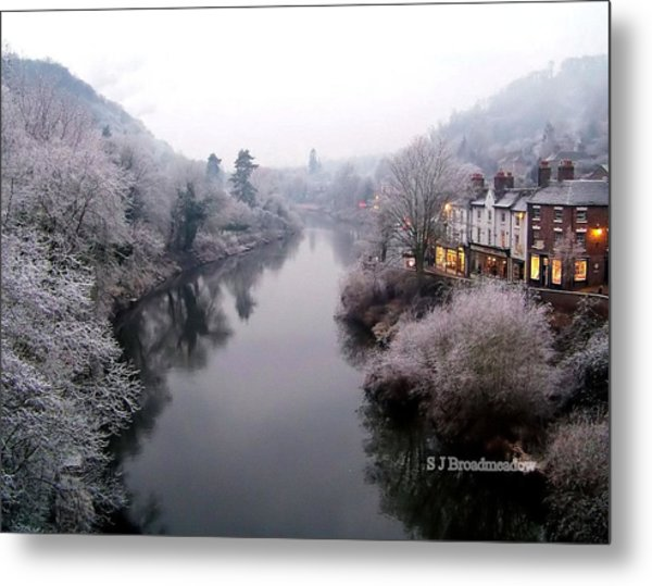 Winter Lights In Ironbridge Metal Print