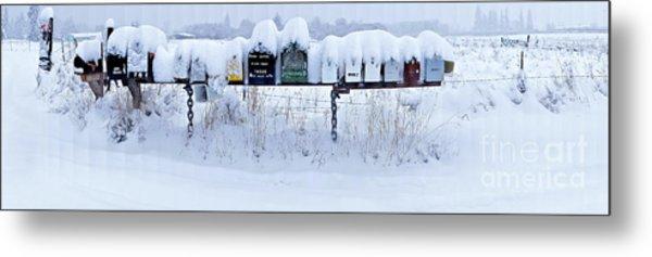 Winter Mailbox Panorama Metal Print